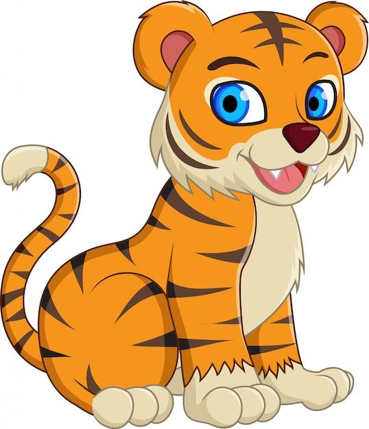 Cute cartoon tiger sitting isolated Premium Vector