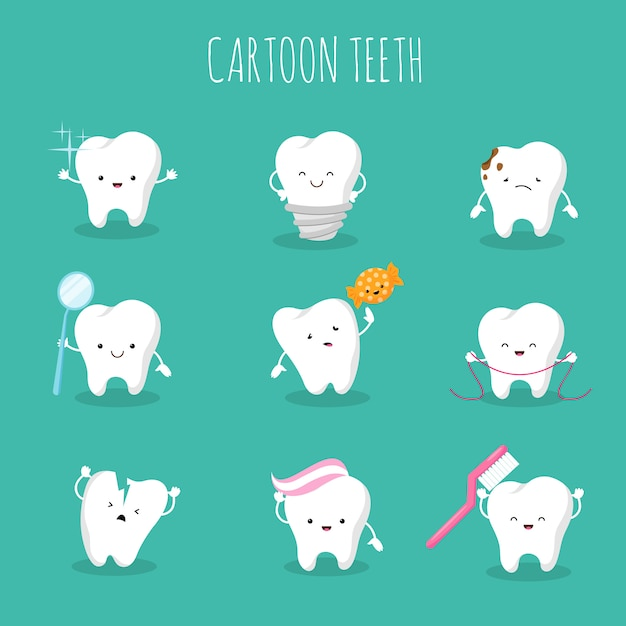 Cute cartoon tooth vector set. baby teeth health and hygiene icons Premium Vector