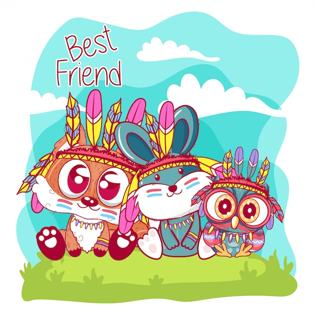 Cute cartoon tribal owl and fox and bunny with feathers Premium Vector