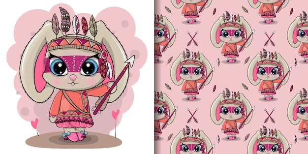 Cute cartoon tribal rabbit with feathers, seamless pattern Premium Vector