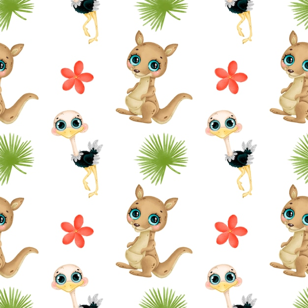 Cute cartoon tropical animals seamless pattern. kangaroo, ostrich, tropical flowers and leaves seamless pattern. australian animals pattern. Premium Vector