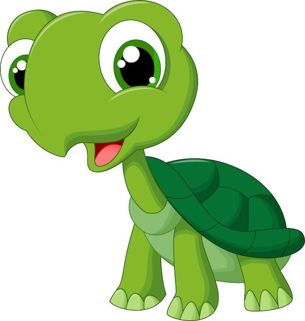 Cute Cartoon Turtle Premium Vector