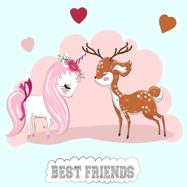 Cute Cartoon Unicorn And Deer Friends Friends Hand Drawn Vector