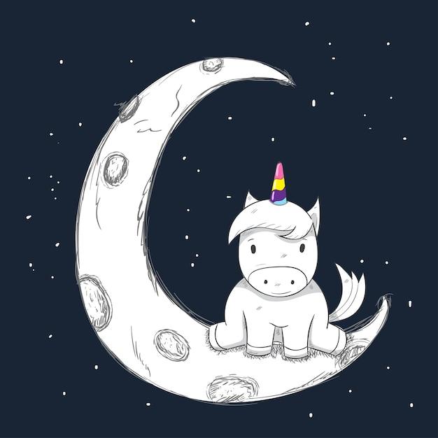 Cute Cartoon Unicorn girl on the moon Vector