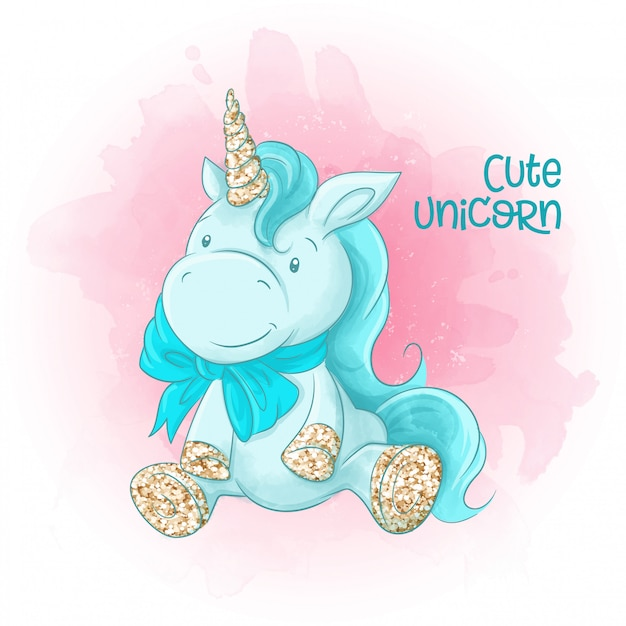 Cute cartoon unicorn on a watercolor background. Premium Vector