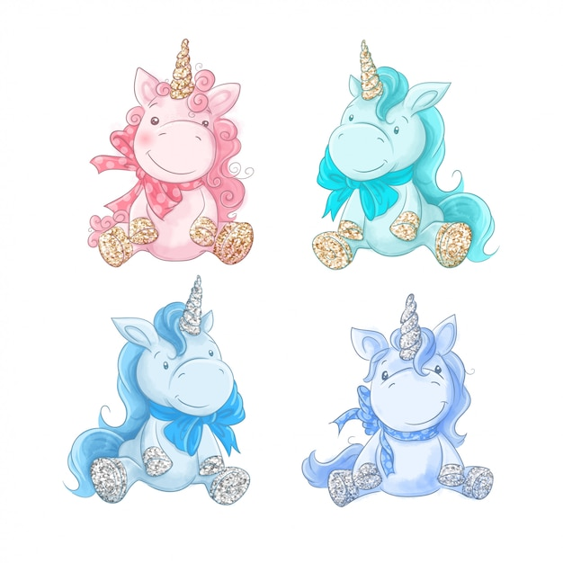 Cute cartoon unicorn on a watercolor background Premium Vector