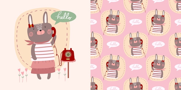 Cute cartoon vector hello little bunny rabbit girl with telephone decorated with heart Premium Vector