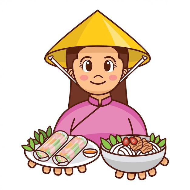 新鮮な春巻きと麺のスープを提供する伝統的な布でかわいい漫画ベトナムの女の子 Premiumベクター