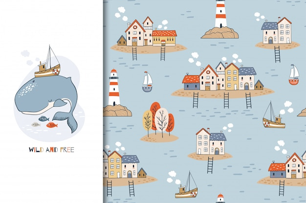 Cute cartoon whale character with boat on the back and seamless background with houses on the islands and a lighthouse. hand drawn marine design illustration. Premium Vector