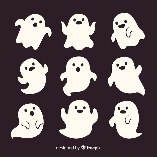 Cute cartoon white smiley halloween ghosts Free Vector