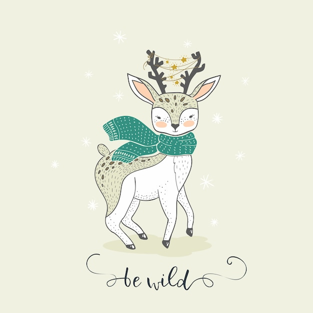 Cute cartoon winter deer. hand drawn lovely animal card Premium Vector