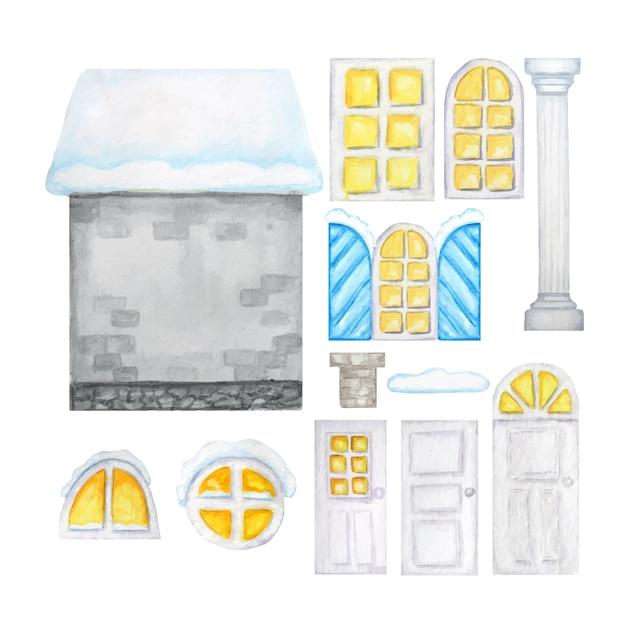 かわいい漫画の冬の灰色の家、木製の窓、ドア、白い背景のコンストラクター。ファンタジーイラスト。水彩要素セット Premiumベクター