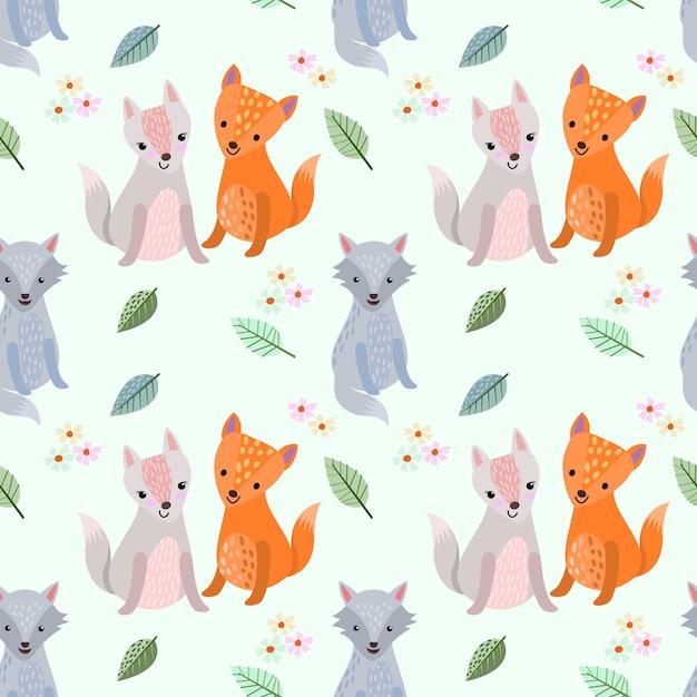 Cute cartoon wolf seamless pattern. Premium Vector