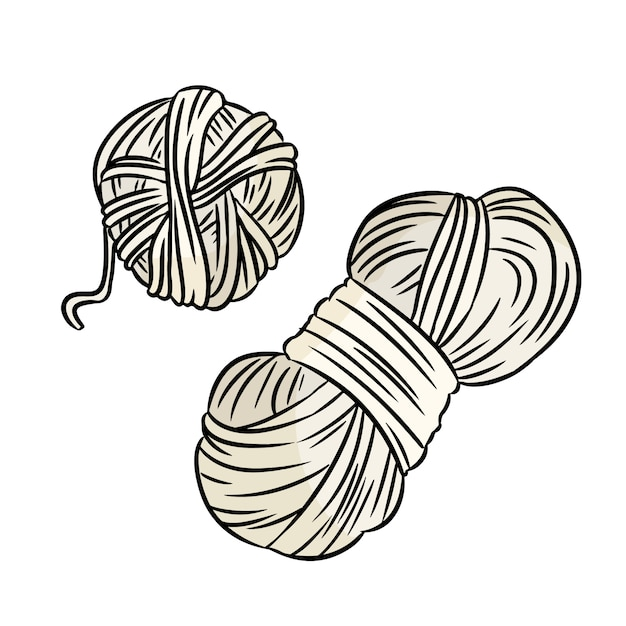 Cute cartoon yarn doodle . hand made logo. media highlights symbol Premium Vector
