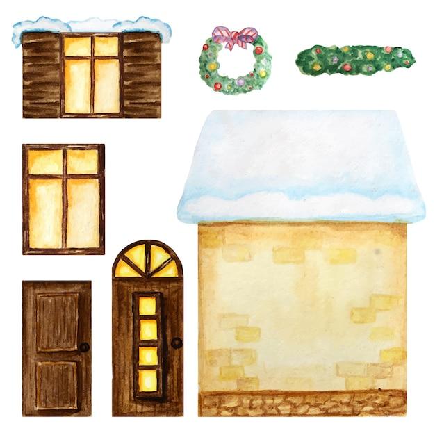かわいい漫画の黄色い家、暗い木製の窓、ドア、白い背景の上のクリスマスの装飾コンストラクター。水彩画の要素セットあなたの家のデザインを作成するのに最適です。ファンタジーイラスト。 Premiumベクター