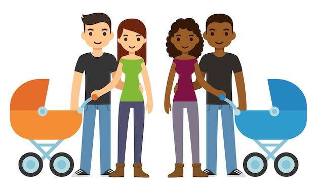 귀여운 만화 젊은 커플, 백인과 흑인, 유모차와 함께. 프리미엄 벡터