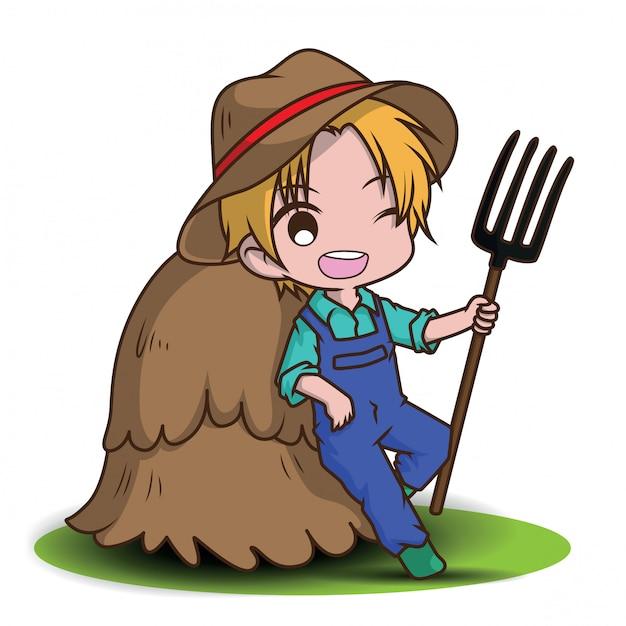 Cute cartoon young farmer holding rake. Premium Vector