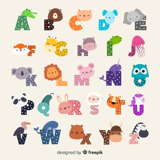 Cute cartoon zoo illustrated alphabet with funny animals Free Vector