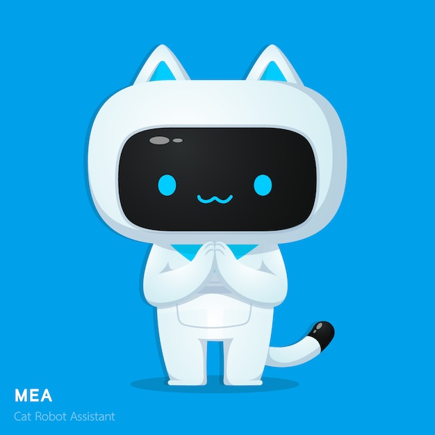 Cute cat ai robot assistance character in respecting action illustrations Premium Vector