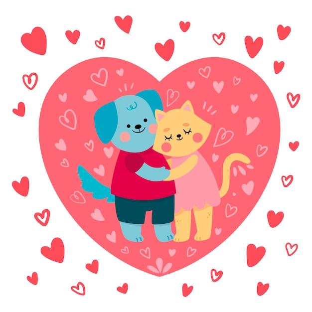 かわいい猫と犬のカップルのイラスト 無料ベクター
