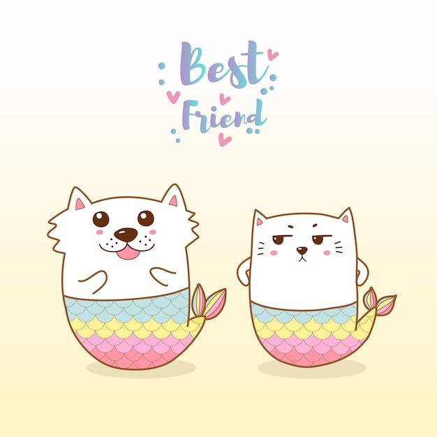 Милый кот и собака русалка мультфильм рисованной Premium векторы