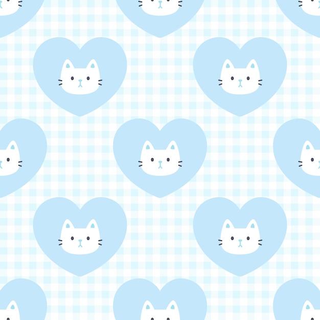 Милый кот и сердце бесшовные модели Premium векторы