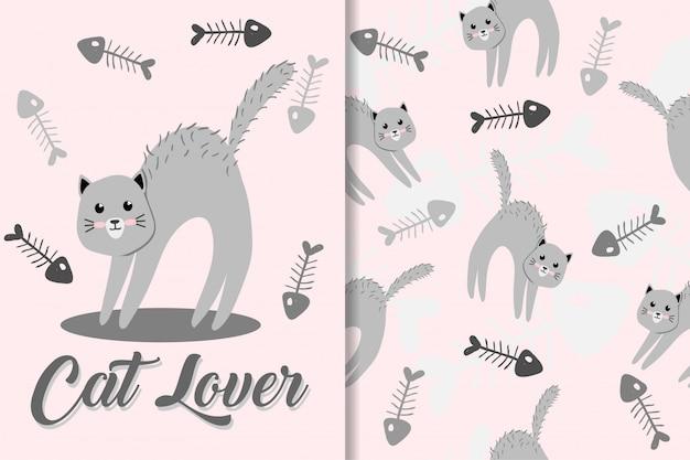 Cute cat animal hand drawn baby pattern set Premium Vector