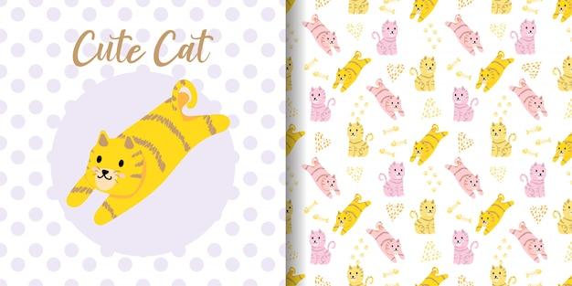 Cute cat animal seamless pattern with baby card Premium Vector