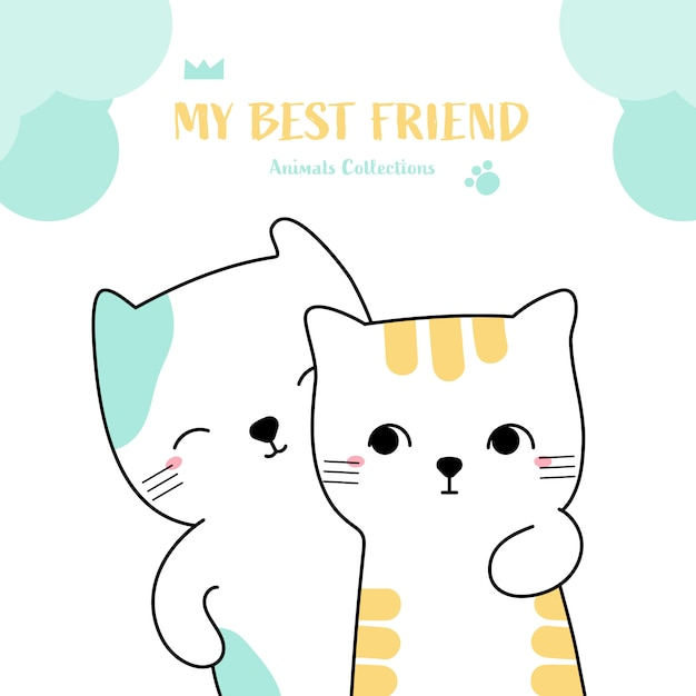 Cute cat best friend animal hand drawn style Premium Vector