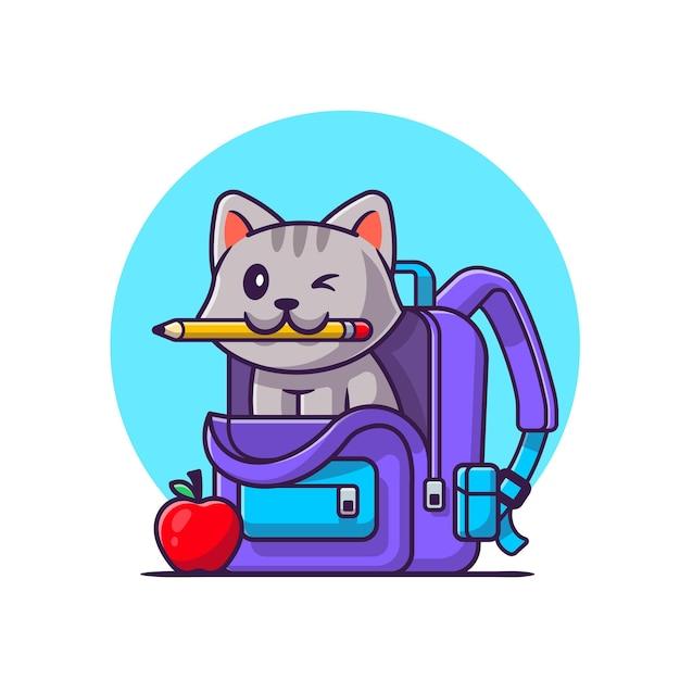 가방 및 애플 만화 벡터 아이콘 일러스트와 함께 연필을 물고 귀여운 고양이. 동물 교육 아이콘 개념입니다. 플랫 만화 스타일 프리미엄 벡터