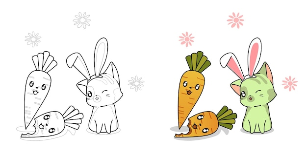 Cute cat and carrot character cartoon coloring page for kids Premium Vector