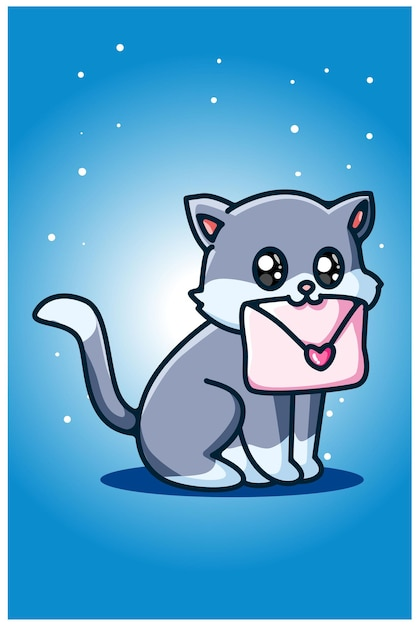 A cute cat carrying a love letter Premium Vector