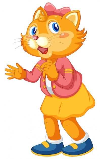A cute cat cartoon character Free Vector