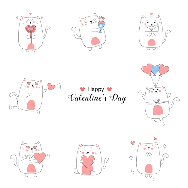 Милый мультфильм коллекция ко дню святого валентина со сладкими цветами. Premium векторы