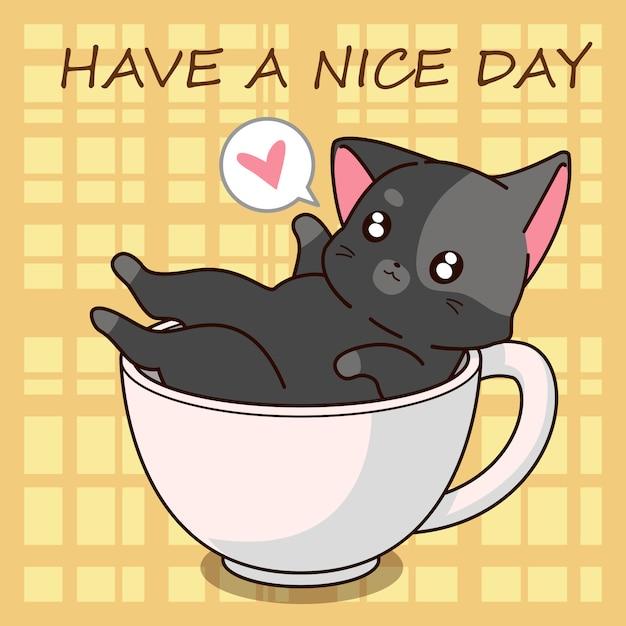 Cute cat cartoon in a cup. Premium Vector