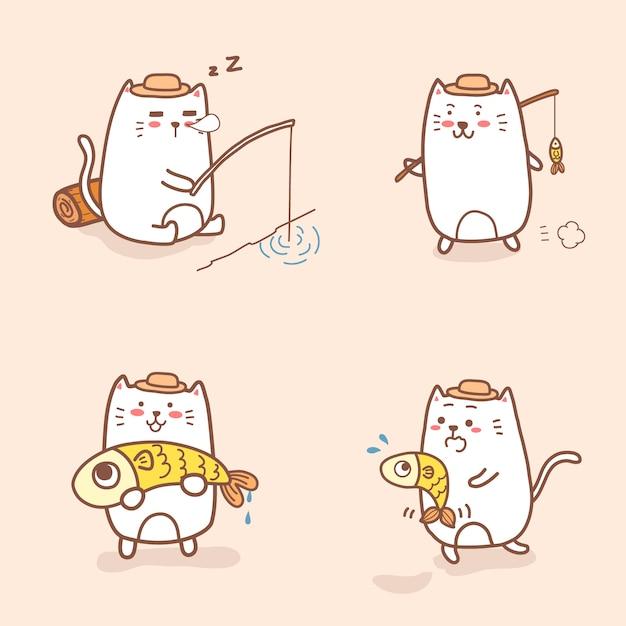 Premium Vector Cute Cat Cartoon Fishing Collection