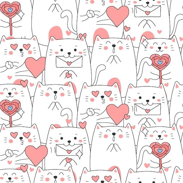 Милый кот мультфильм шаблон бесшовные на день святого валентина. Premium векторы