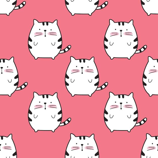 Cute cat cartoon seamless pattern Premium Vector