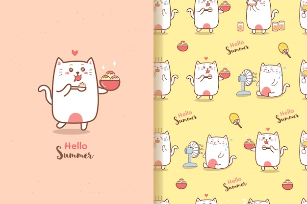 Cute cat cartoon summer seamless pattern eating ice-cream with sweet colors background Premium Vector