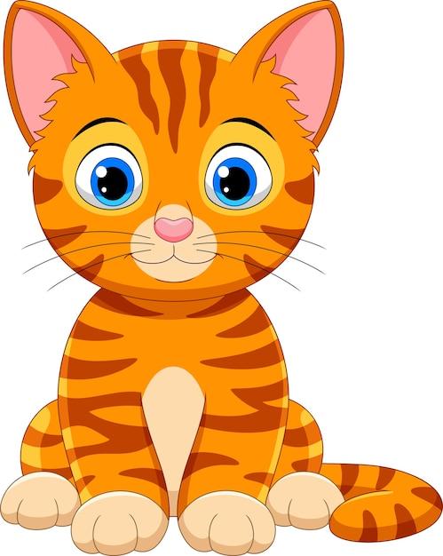 かわいい猫漫画 Premiumベクター