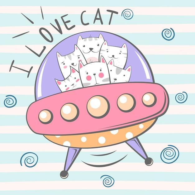 Cute  cat character Premium Vector