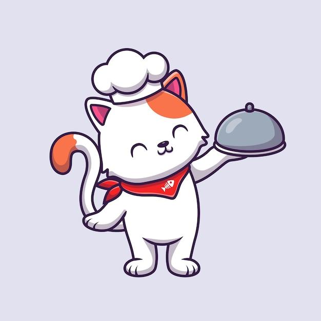 Cute cat chef holding cloche food cartoon vector  illustration. Premium Vector