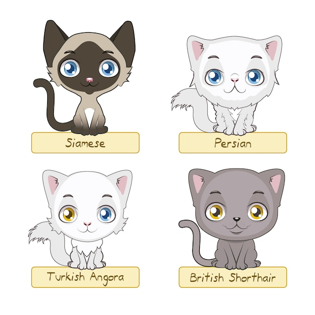Cute cat collection Free Vector