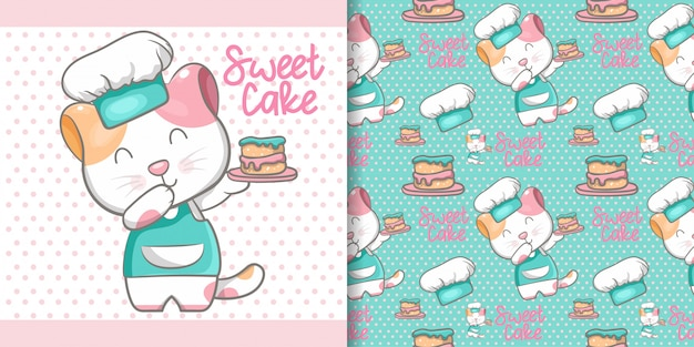 Cute cat cooking seamless pattern and illustration card Premium Vector