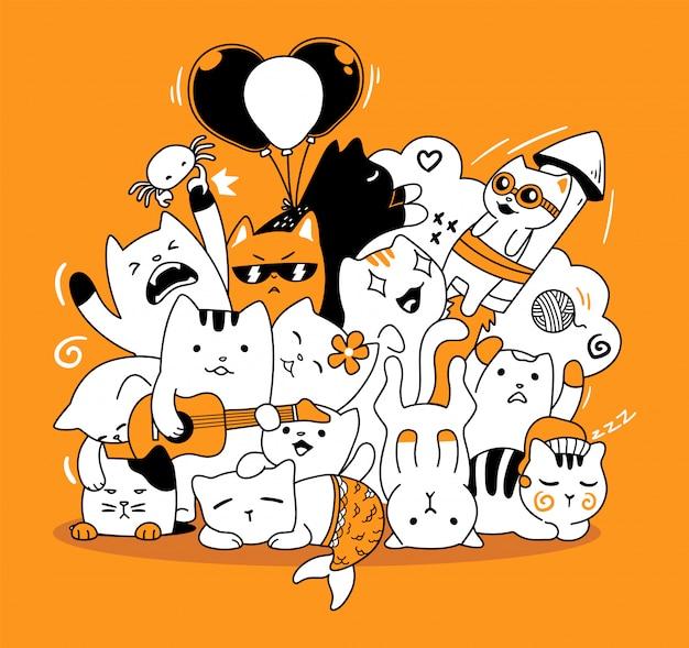 Cute cat doodle Premium Vector