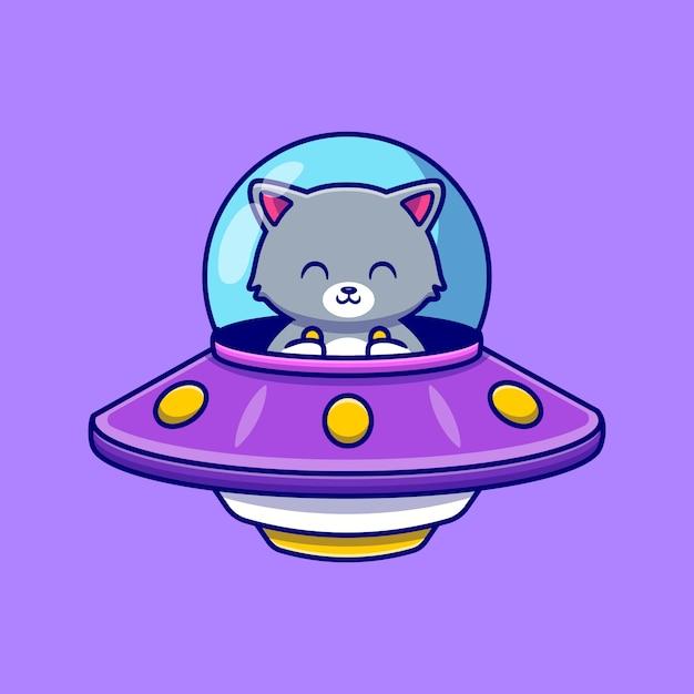 Милый кот за рулем космического корабля нло мультфильм значок иллюстрации. концепция значок технологии животных изолированы. плоский мультяшном стиле Бесплатные векторы