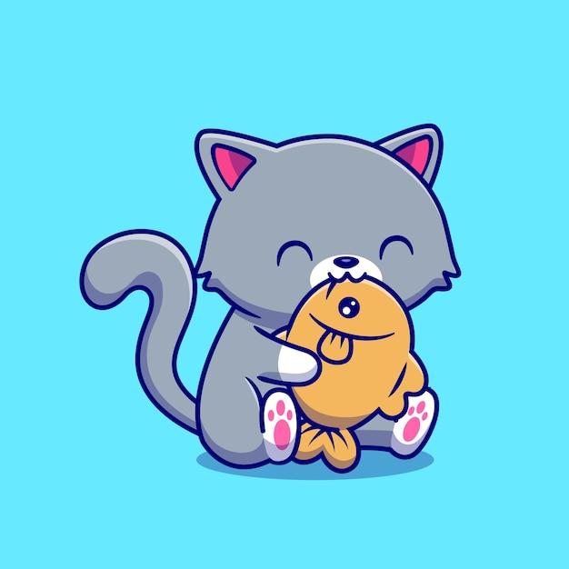 Cute cat eating fish cartoon vector  illustration. Free Vector