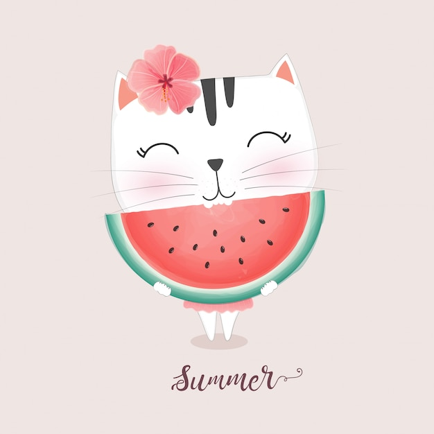Cute cat eating watermelon Premium Vector