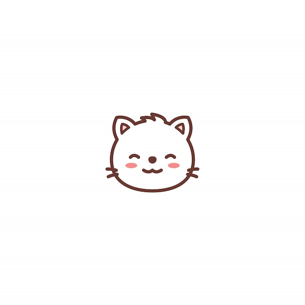 Cute Cat Face Cartoon Icon Premium Vector