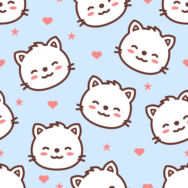 Cute cat face cartoon seamless pattern Premium Vector